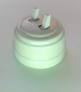 Выключатель 2-х рычажковый БЕЛЫЙ керамический