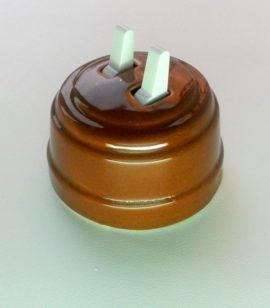Выключатель 2-х рычажковый КОРИЧНЕВЫЙ керамика